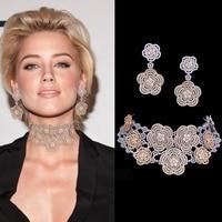 GODKI Super Luxury Floral Flower Women Wedding Cubic Zirconia Choker Necklace Earring Dubai Jewelry Set Jewellery Addict