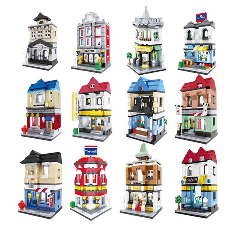 KAZI Mini Double Street Architecture Series Model The Mall Bank Building Blocks Sets Bricks Educational Toys For Children Gifts футболка patagonia rania top женская