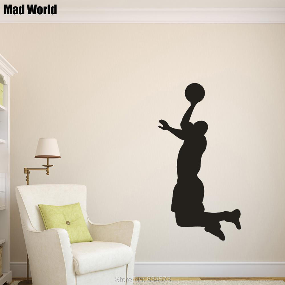 Mad World-Basketball Player Silhouette Wall Art Stickers Wall Decal Home DIY Decoration Removable Room Decor Wall Stickers A02 image