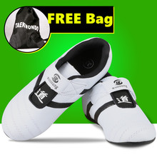 PU leather breathable KICK kids Taekwondo Shoes Martial Arts Sneaker White with Black Stripes child male FemaleTraining shoes