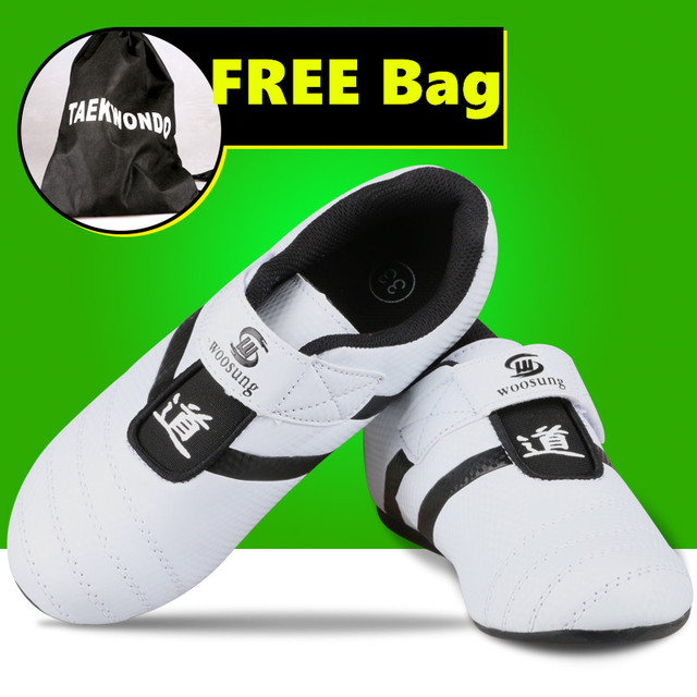 176a8e4bbb6346 PU leather breathable KICK kids Taekwondo Shoes Martial Arts Sneaker White  with Black Stripes child male FemaleTraining shoes