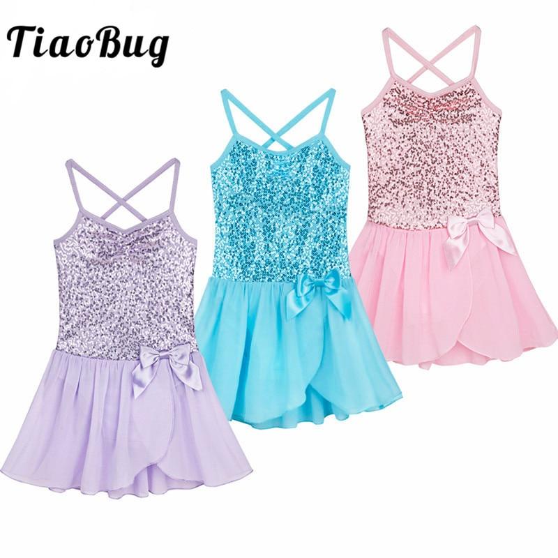 TiaoBug Kids Ballet Tutu Sequin Tulle Bowknot Dress Girls Gymnastics Leotard Dress Children Dance Wear Ballerina Fancy Costume