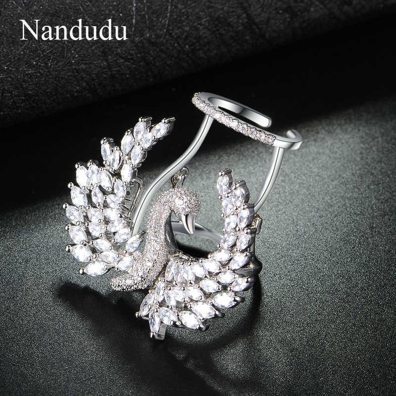 Nandudu роскошный уникальный активный Лебедь со сверкающим чистым кубическая циркониевая Подвеска Модные кольца для суставов палец для женщин свадебный подарок R1877