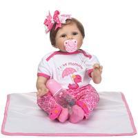 22inch reborn baby Dolls Cloth Body Silicone Rebron Babies Girl reborn baby doll Toys Newborn Bonecas brinquedos Kids Gift