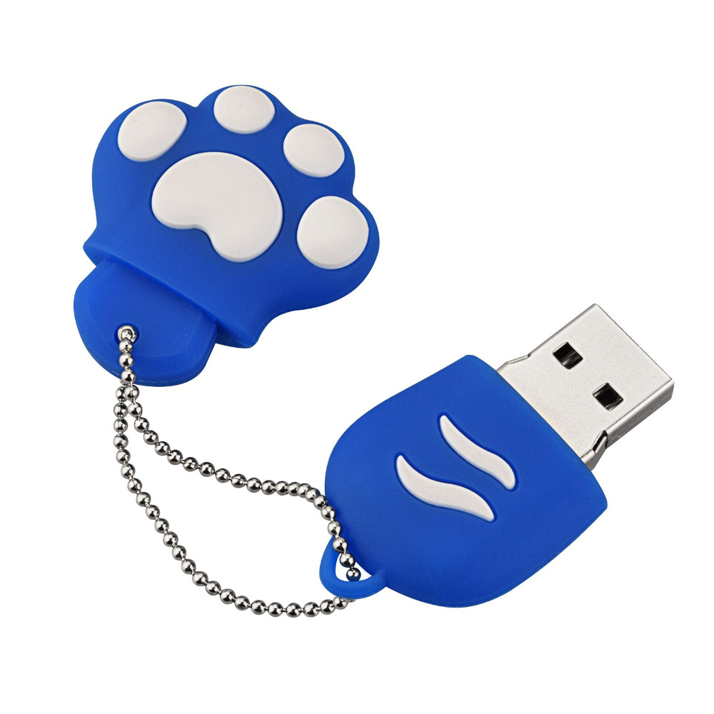 J boxing Blue USB Flash Drive 32GB Lovely Cat Claws Pendrives 16GB USB Memory Stick Women 64GB Thumb Drive for Laptop Mac Tablet in USB Flash Drives from Computer Office