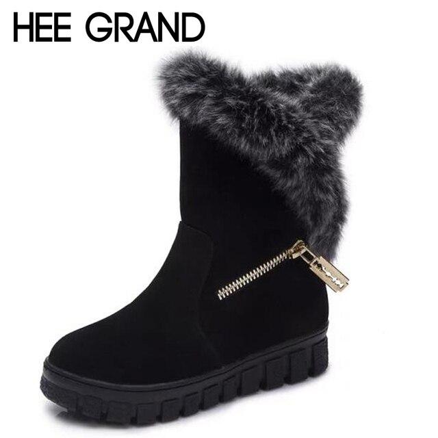 Hee grand caliente gruesa cremallera lateral plataforma de piel botas de nieve plana zapatos para mujer impermeables felpa botas de invierno frío xwx5351