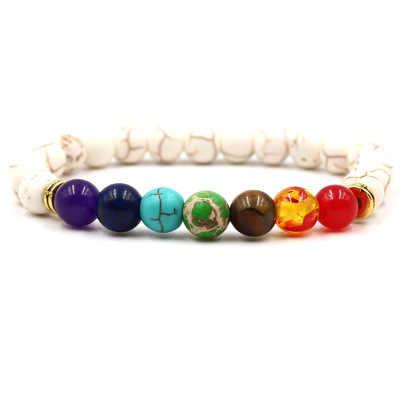 Newst 7 Chakra Armband Mannen Zwart Lava Healing Balans Kralen Reiki Boeddha Gebed Natuursteen Yoga Armband Voor Vrouwen
