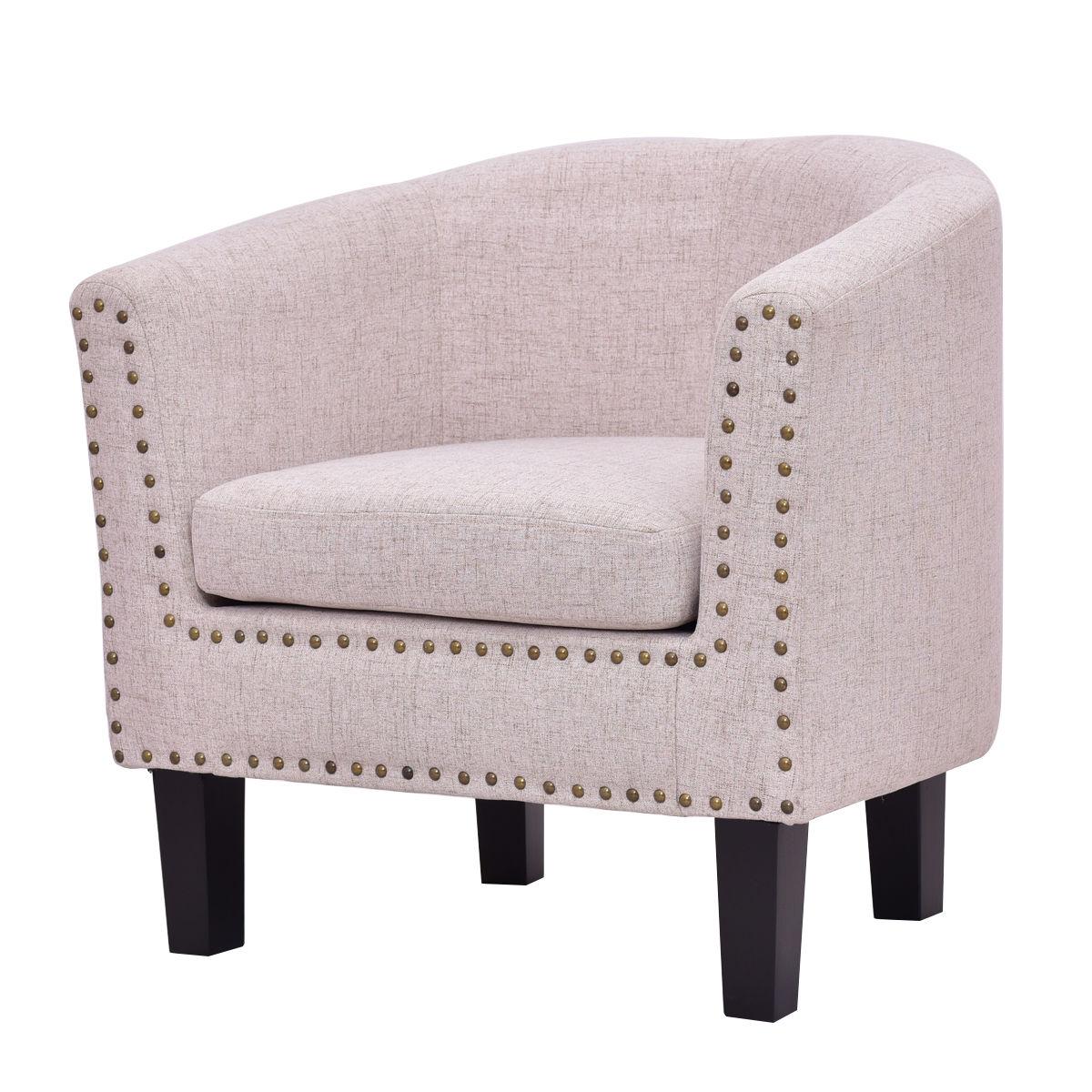 Giantex Modern Living Room Armchair Accent Fabric Rivets ...