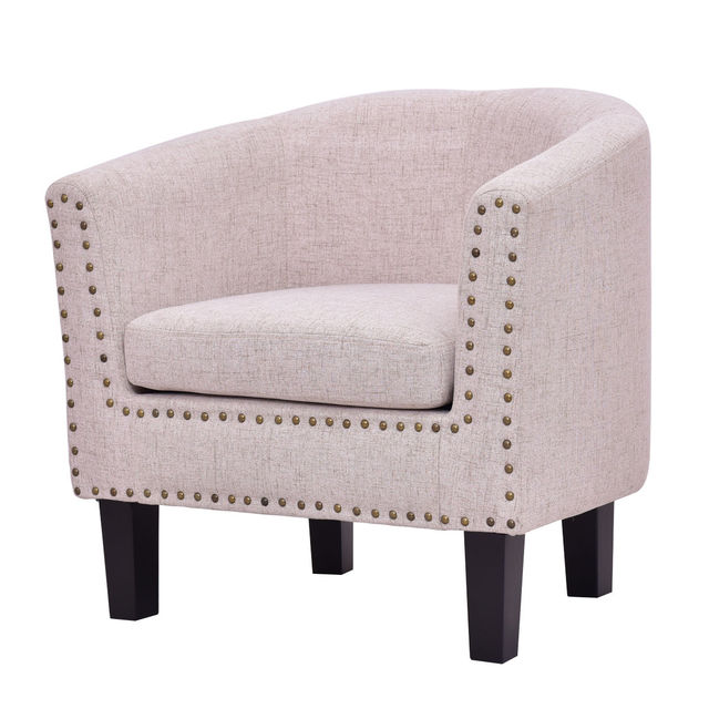 single chairs for living room giantex modern living room armchair accent fabric rivets 21607