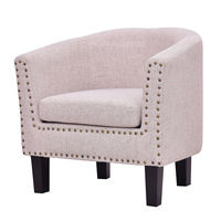 Giantex Modern Living Room Armchair Accent Fabric Rivets Single Sofa Chair with Cushion Leisure Wood home Furniture HW56011BE