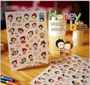 6 sheets/1set Kawaii Planner Stickers Honey Bee girls Transparent diary deco meno sticky notes/post it note Cute Stationery