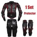 Herobiker red motorcycle body armor armadura motocross motocicleta jaquetas engrenagens + calças curtas + protetor de moto na altura do joelho pad