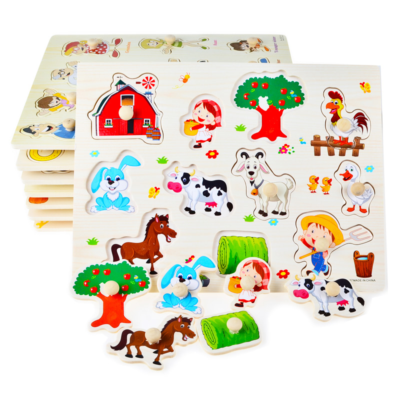 Hand Grasp Knob Pegged Puzzle  Wooden Quality Numbers Animals Fruits Vegetable  Characters Letter Cognitive Board Children Toys hand grasp knob pegged puzzle wooden quality animals characters letter cognitive board children recognization toys