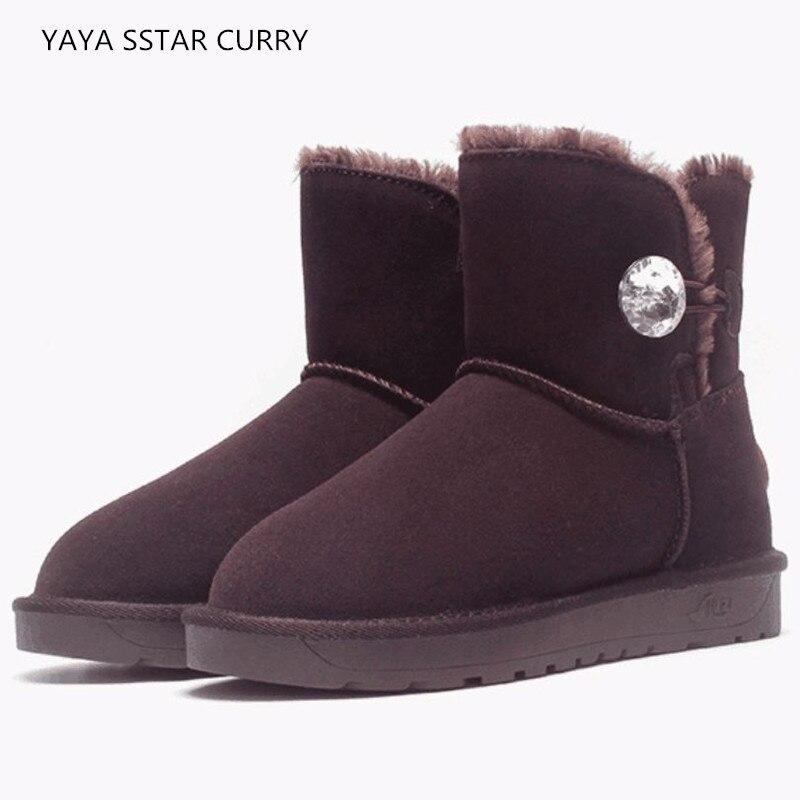 18 зимние ботинки женские кожаные зимние хлопок кристалл кнопки Женские спортивные туфли из хлопка Короткие полусапожки ug3352walking Обувь