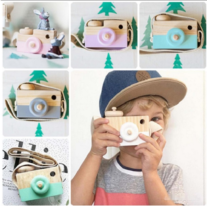 Cute Wooden Toy Camera Baby Kids Hanging Camera Photography Prop Decoration Children Educational Toy Birthday Gifts G0357