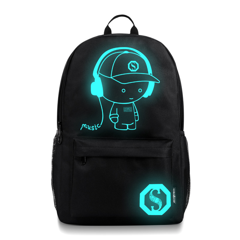 laptop bag school male luminous usb outdoor backpack Environmental protection and energy saving luminous printed backpack bag in Backpacks from Luggage Bags
