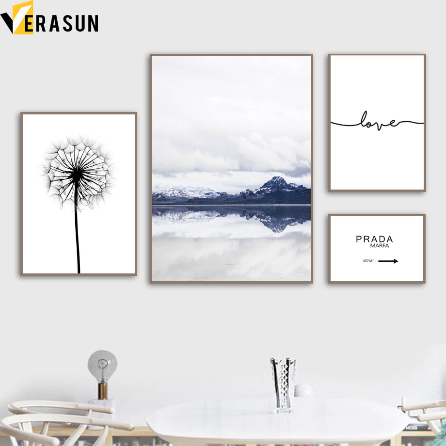 Mountain Dandelion Love Quote Landscape Wall Art Canvas Painting Nordic Posters And Prints Pictures For Living Room Decor