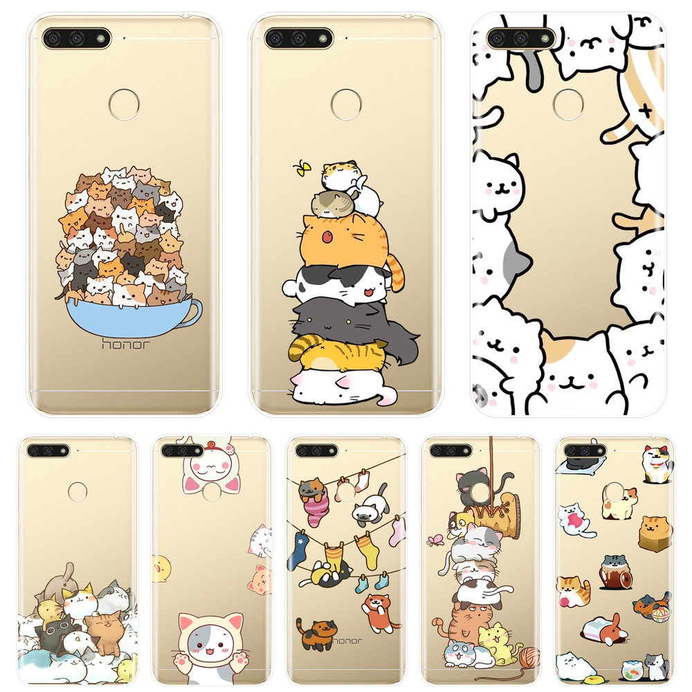 Phone <font><b>Case</b></font> For <font><b>Huawei</b></font> Y3 Y5 Y6 <font><b>Y7</b></font> 2017 II Pro Kawaii <font><b>Cat</b></font> Japan Soft Silicone Back Cover For <font><b>Huawei</b></font> Y5 Y6 <font><b>Y7</b></font> Prime 2018 Y9 <font><b>2019</b></font> image