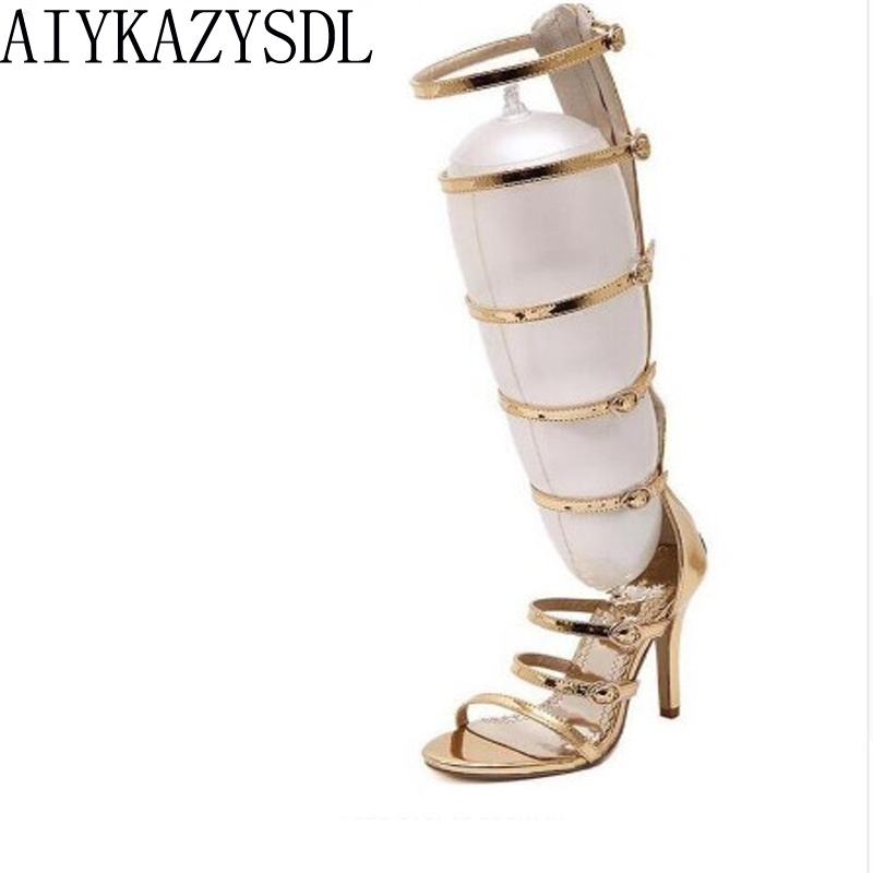 AIYKAZYSDL 2017 boda fiesta nupcial mujeres rodilla alta verano botas de tiras gladiador romano sandalias jaula stiletto tacones bombas de oro