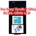 6.44 polegada lcd para sony xperia z ultra xl39h xl39 c6806 c6843 c6833 lcd + tela de toque assembléia + adesivo + ferramentas, frete grátis