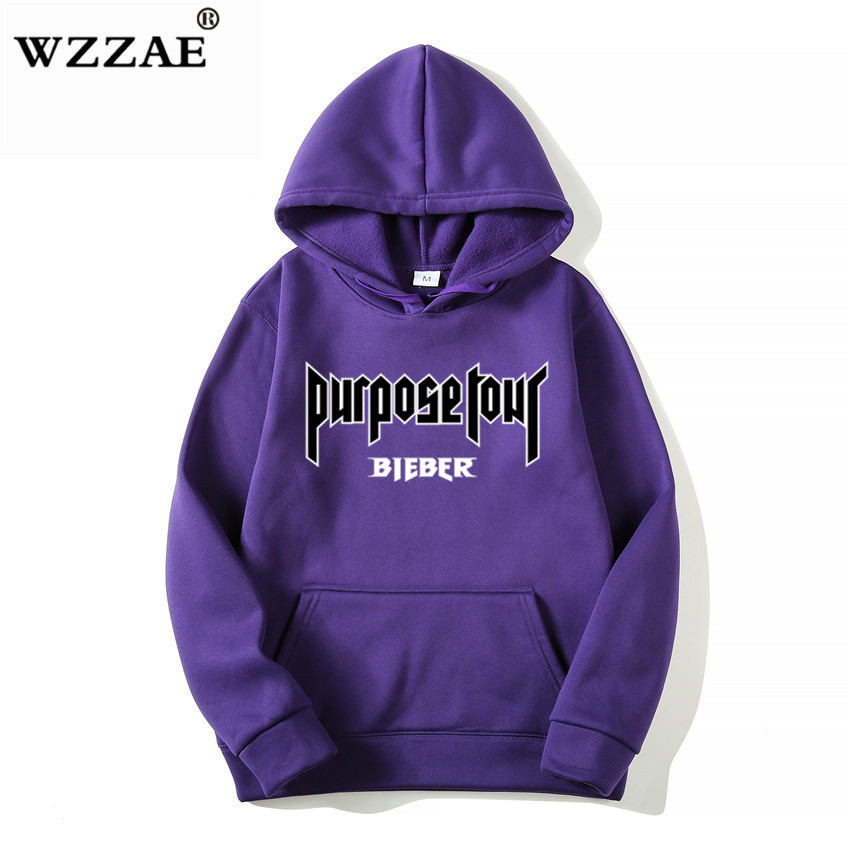 2018 Justin Bieber Poster Hip Hop Sweat Homme Hoodie Hooded Man Letters Justin Bieber Purpose Tour Streetwear Gray Black Hoodies