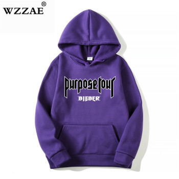 2020 Justin Bieber Poster Hip Hop Sweat Homme Hoodie Hooded Man Letters Justin Bieber Purpose Tour Streetwear Gray Black Hoodies