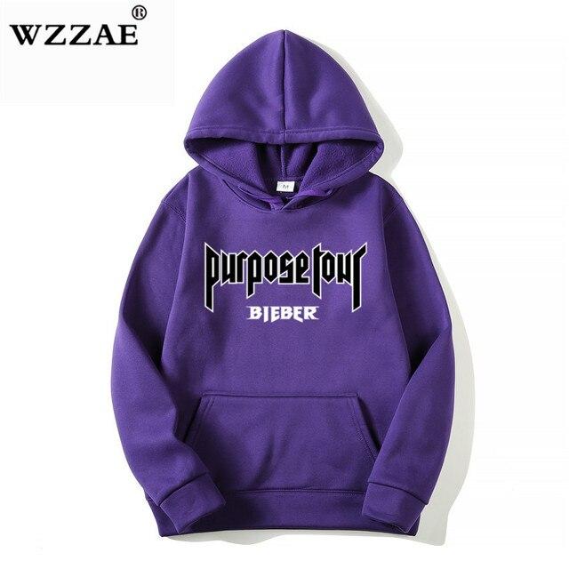 2020 Justin Bieber Poster Hip Hop Sweat Homme Hoodie Hooded Man Letters Justin Bieber Purpose Tour Streetwear Gray Black Hoodies