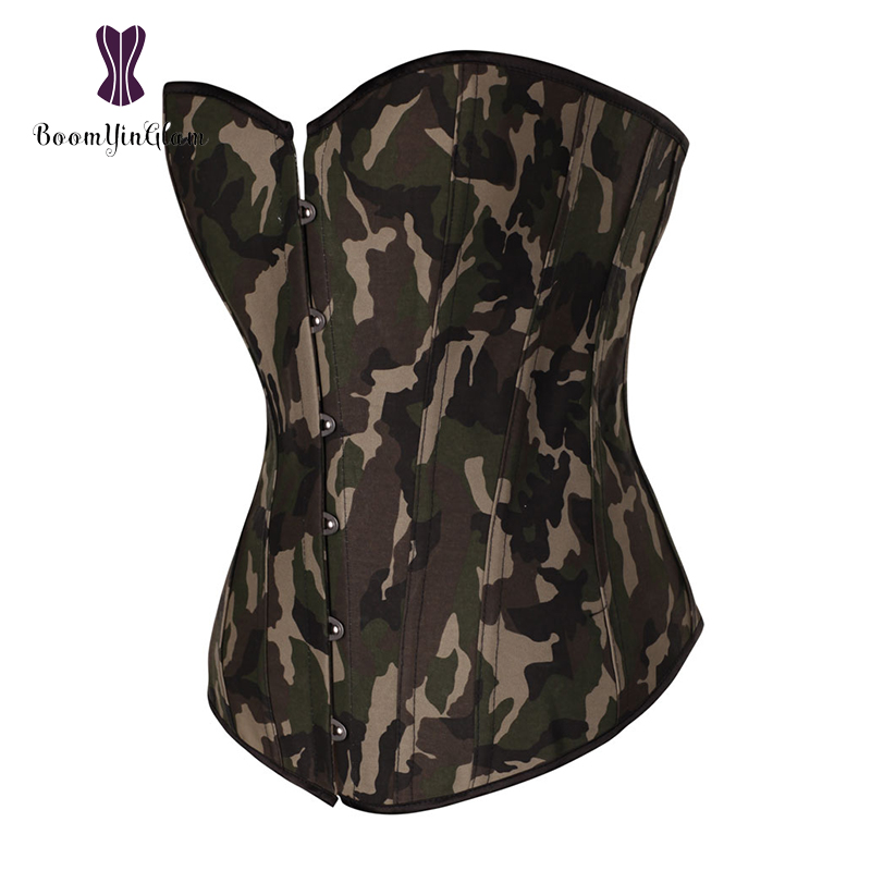 Vintage Camouflage Army Girl Lingerie Slimming Body Shapwear Lace Up Boned Corset Bustier With Lacing Ribbon 885#