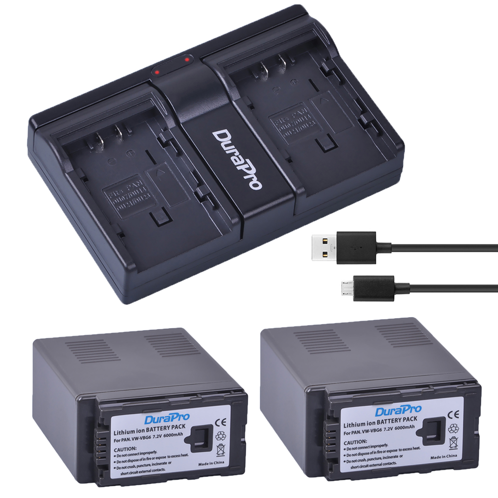 2x 6000Ah VW-VBG6 VW VBG6 Camera Battery + USB Dual Charger for PANASONIC AG-HMC71 HMC73 HMC150 HPX250 AC160MC AG-HMC155GK replacement vbg260 7 4v 2460mah battery pack for panasonic ag hmc150 hdc dx1 more
