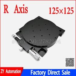 R eje 125mm Manual rotatorio de 360 grados Mesa deslizante micrómetro precisión ángulo de desplazamiento ajustar plataforma óptica RS125-L