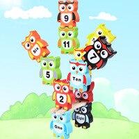 블록 사랑스러운 나무 장난감 어린이 Brinquedos 나무 세트 장난감 올빼미 했답니다 높은 균형 게임 나무 몬테소리 개발 장난