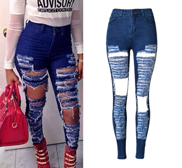 New Design Denim Women 2016 High Waist Ripped Jeans for Women ...
