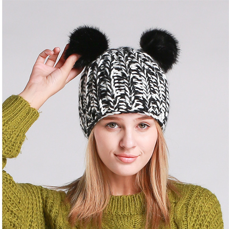 BomHCS New Winter Lady Warm Handmade Knitted Beanies Cap Lovely Cat Ears Hats with Fur Pom