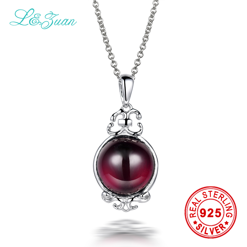 L&zuan 925 Sterling Silver Natural 5.56ct Garnet Red Stone Necklace & Pendant For Women
