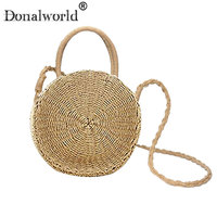 Donalworld 2018 Fashion Summer Round Straw Shoulder Bag Women Rattan Woven Vintage Knitted Messenger Bag Handbag