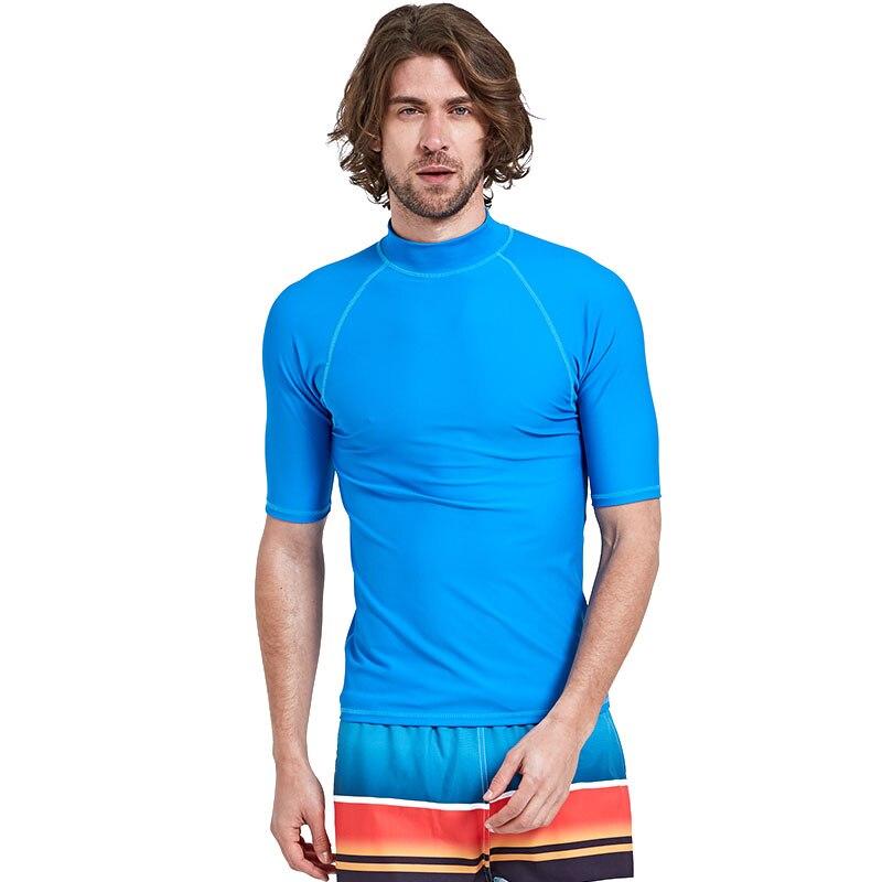 Roupa de Banho dos Homens Camisas de Proteção Roupa de Banho 50 + Manga Curta Rash Guard Atlético Top Rashguard Nadar Solar Upf