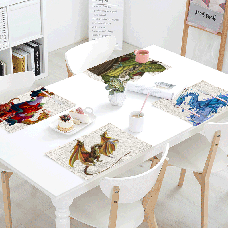 High Quality Table Cloth 42x32cm Dinosaur Green Leaves Living Room Kitchen Dining Room Decor Pad Tea Coffee Table Western Mat