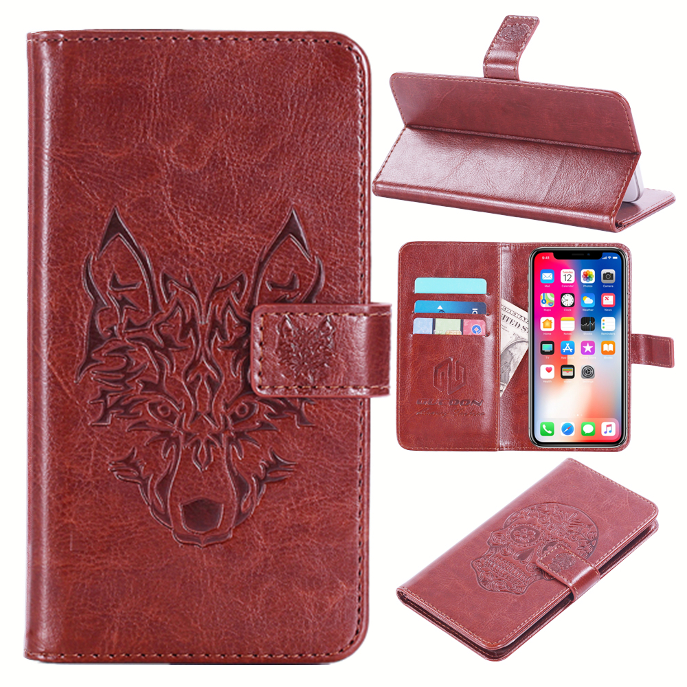 GUCOON Embossed Skull Wolf Case for BQ BQ-5007L Iron 5.0inch Vintage Protective Phone Shell Fashion Cool Cover Bag