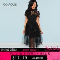 COLROVIE Black Solid Floral Bodice Mesh Lace Sexy Dress Women 2018 Autumn Long Party Dress Vintage A Line Elegant Dresses