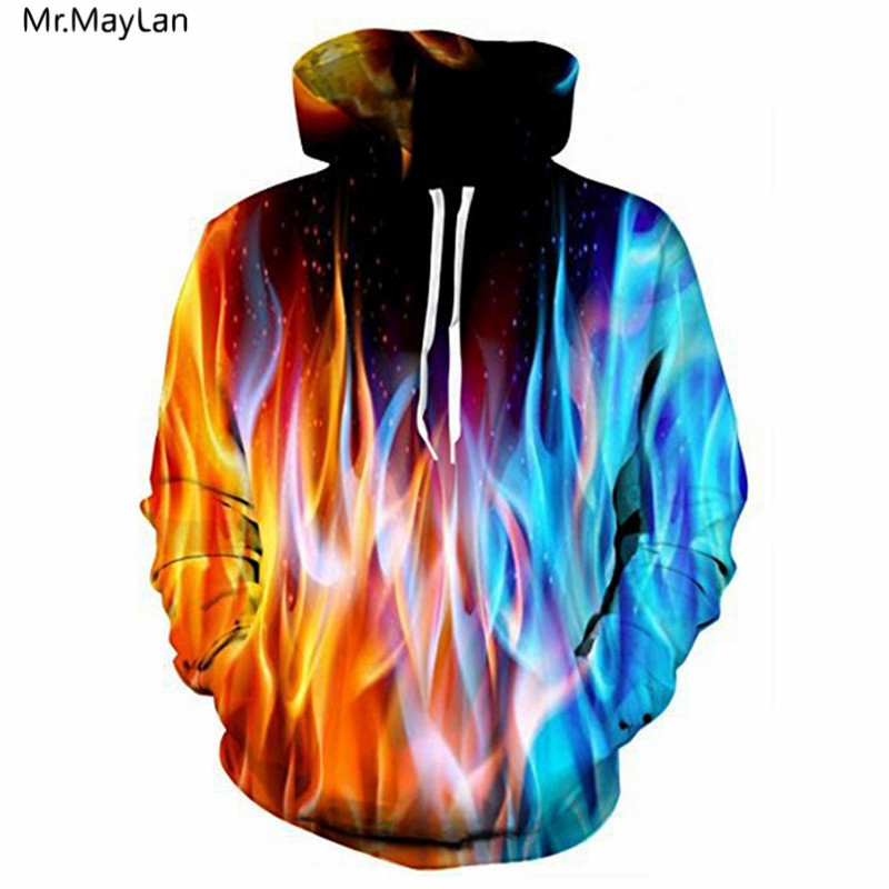 Mr MayLan New Style 3D Print Colorful Fire Flame Hooded Sweatshirt Men Women Hipster Outerwear Casual Pullover Hoodies Jacket in Hoodies amp Sweatshirts from Men 39 s Clothing