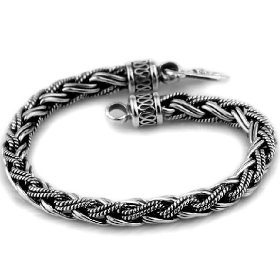 7MM Handmade Thai 925 Siilver Chain Bracelet Vintage Sterling Silver Bracelet Man Bracelet 9mm handmade thailand 925 siilver bracelet vintage sterling silver chain bracelet pure silver man bracelet