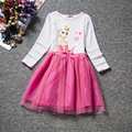 Cartoon Children's Clothes Long Sleeve And Short Sleeve Princess Dress Cotton Girl Frozen Dress Fairy Costume For Kids Clothes