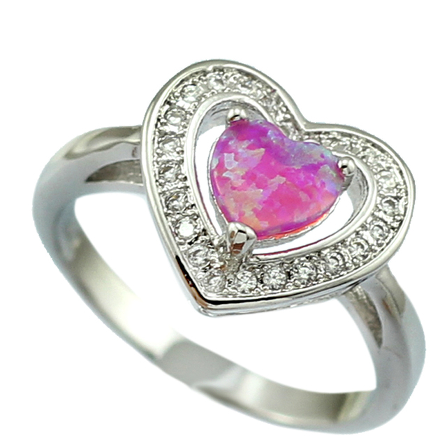 8f7cb21f6c HAIMIS Heart Shape Pink Fire Opal CZ Women Claw Inay Fashion Jewelry Opal  Ring Size 8