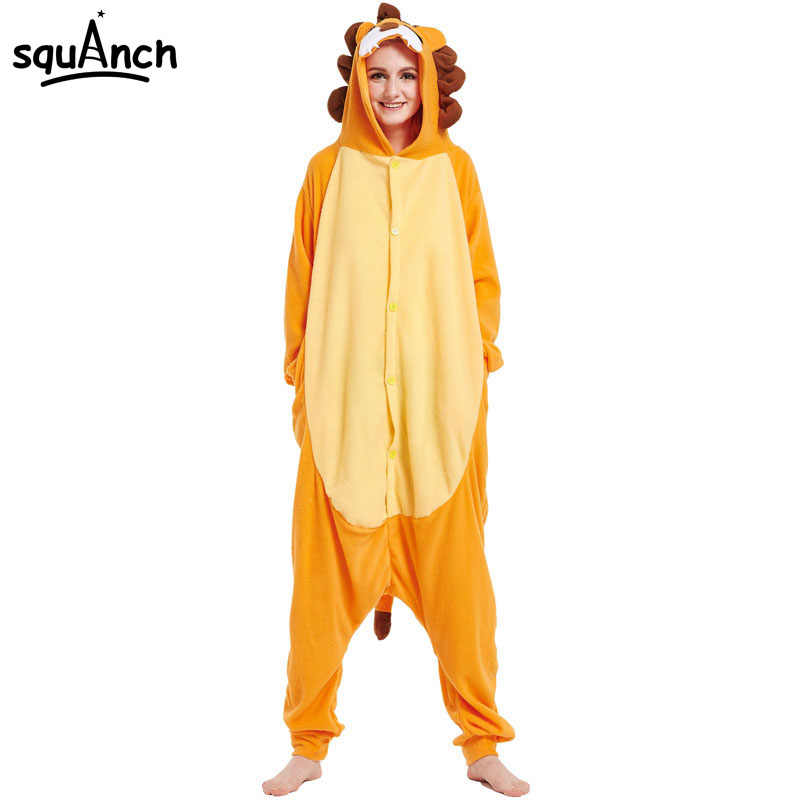 5a62daedd0b Animal Lion Onesie Funny Orange Pajama Men Women Adult Kigurumi Party  Costume Carnival Jumpsuit Winter Warm