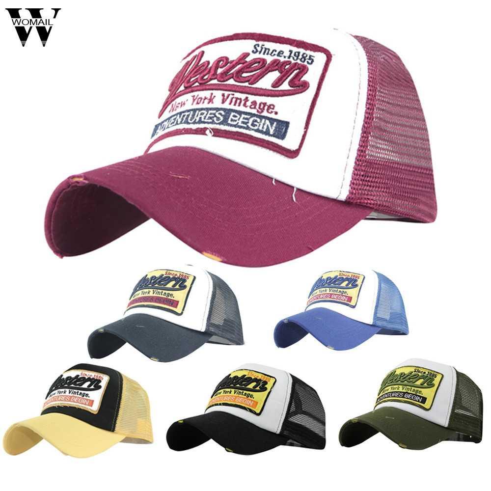 ece053a7d1cdb ... Trucker Cap Men Hip Hop Baseball Caps Dad Hat Western Mesh Summer Hat  Casual Women Embroidery