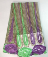 New Latest guipure lace for wedding dress,African lace fabric High Quality.stripe purple with green color french lace fabric