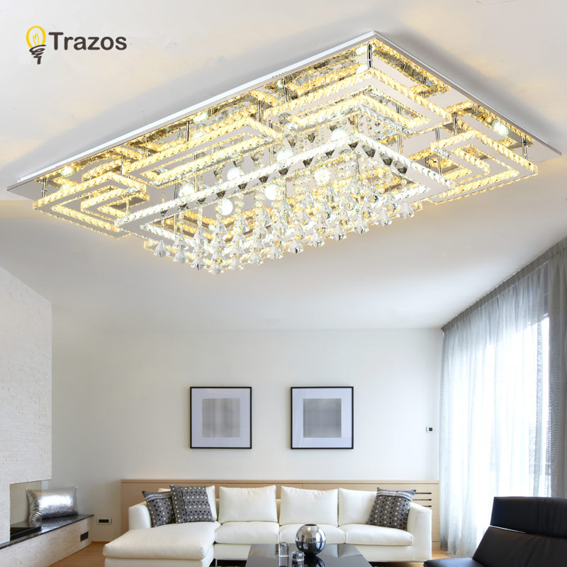 Luxury Modern Crystal Ceiling Light With Glass Lampshade Gold Ceiling Lamp for Living Room Bedroom lamparas de techo abajur