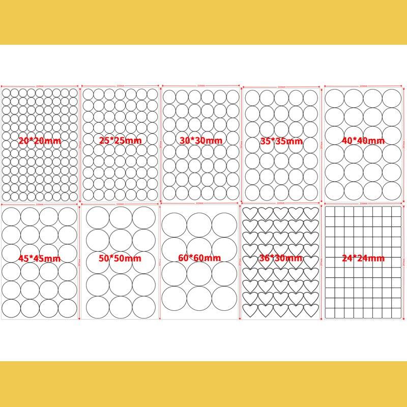 A4 Runde Weiß Glänzend/Kraft Aufkleber Druck Label Blank Dichtung für Drucker oder Handschrift Durchmesser 2,5 cm 3cm 4cm 6cm