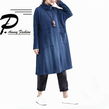 Trend Plus Size Turtleneck Long Sleeve Padded Cotton Big pocket Jumper Dress  Women s Thickened cotton Warm 0c2f3bd06993