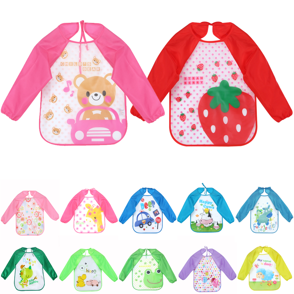 Baby Bibs Infant Cartoon Printed Long Sleeve Waterproof Coverall Baby Toddler Scarf Feeding Smock Baby Feeding Accessories trumpet sleeve checked smock dress